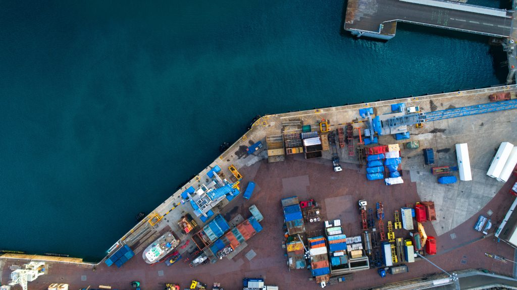 Shipping port loading area