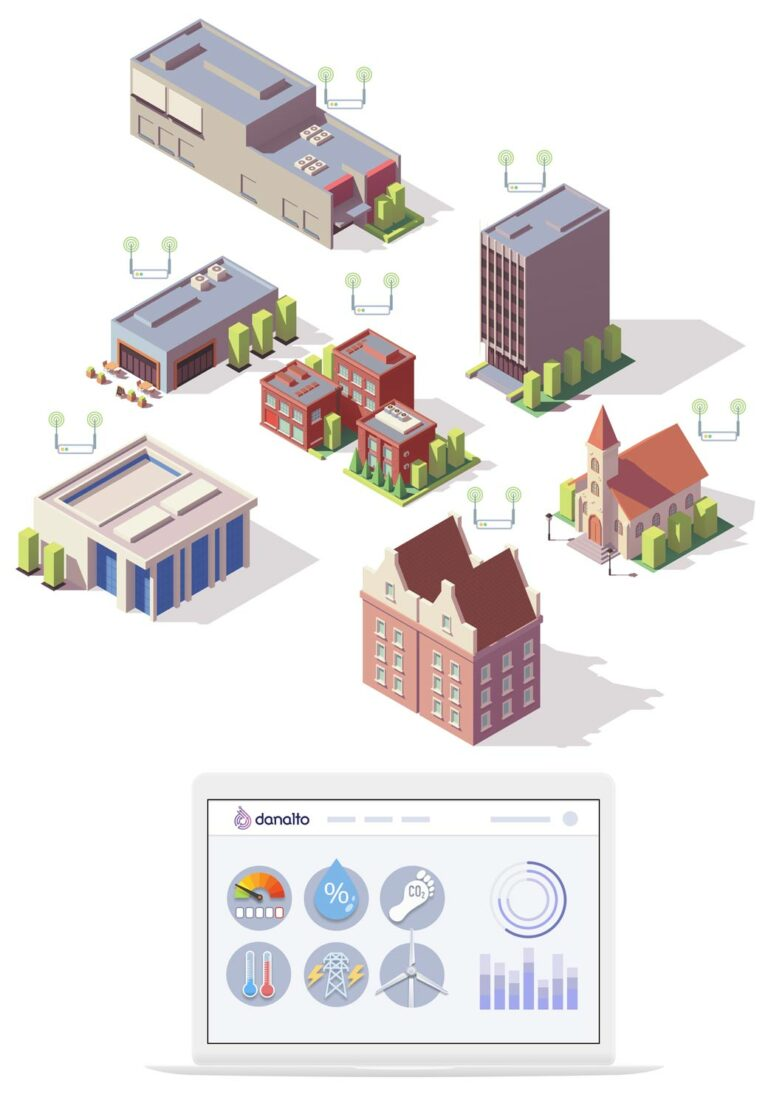 Graphic representing data coming from smart municipal public buildings