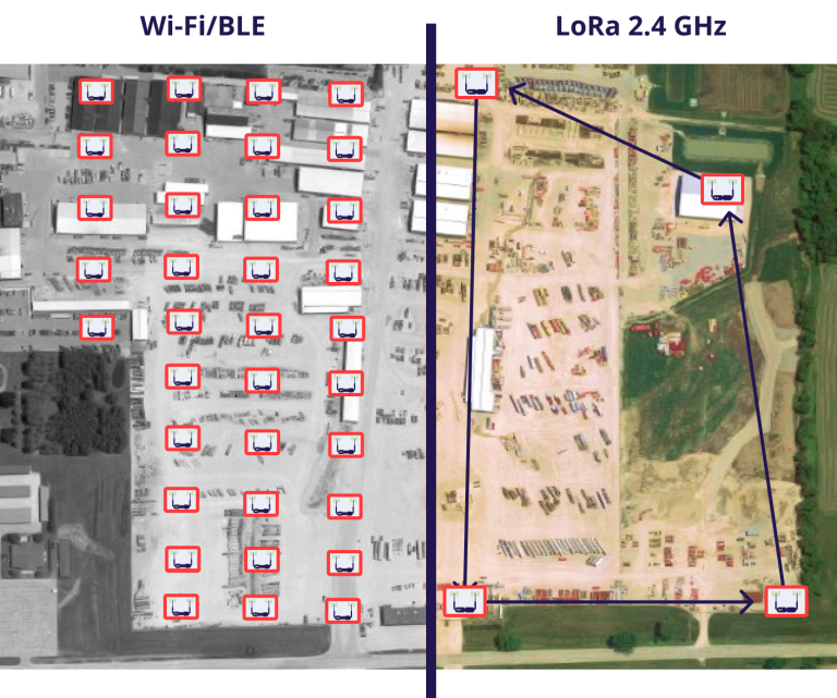 Location Tracking with Wi-Fi/BLE vs. LoRa 2.4 GHz